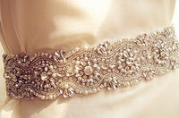bridal sash belt, crystal bead trim, crystal embellishment sash