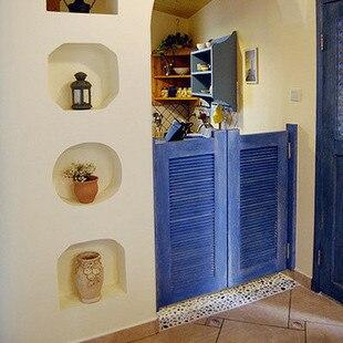 Naples pure Mediterranean blue wooden shutters cowboy door free door waist door bar door fence gate & Naples pure Mediterranean blue wooden shutters cowboy door free door ...
