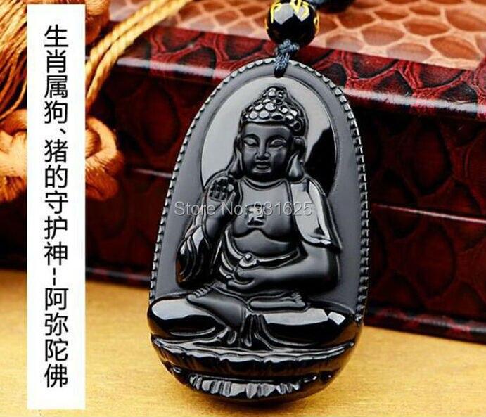 100/% Naturel Noir Obsidian Carved Dragon Phoenix Lucky Pendentif Perles Collier