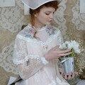 LYNETTE CHINOISERIE 2016 Otoño Diseño Original Mujeres de la Alta Calidad de Victoria Bordado Real Vestido Asimétrico de Encaje Hecho A Mano