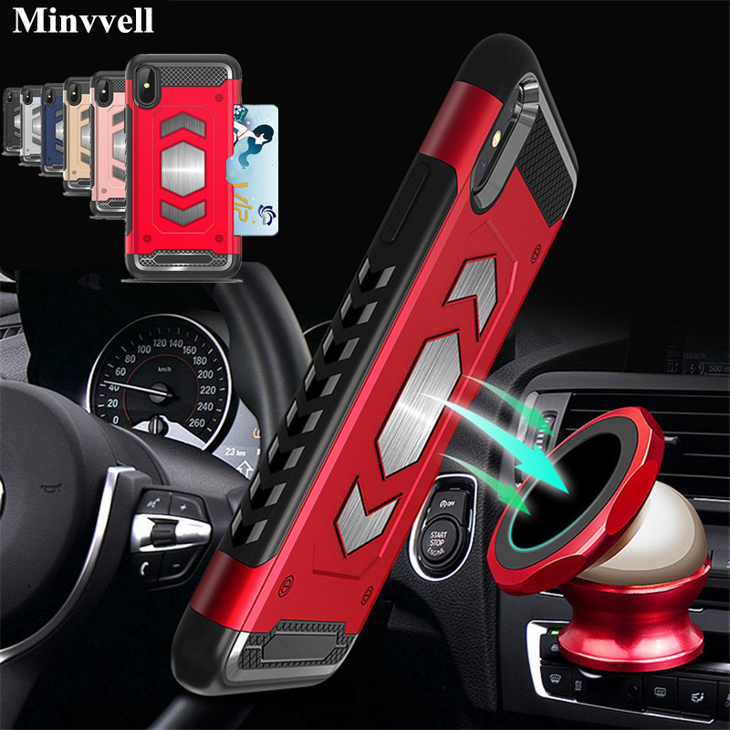 For iPhone X XR 7 8plus Case PC Armor Hybrid Car Magnetic Bracket Case for iPhone XS Max X 6 6s 7 8 Plus Credit Card Holder Case iphone xr case magnetic