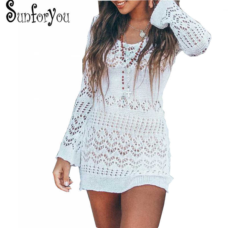 f6347a10f9 Knit Beach Cover up Women Beach Wear Pareo Sarong Swimsuit Cover up Beach  Tunic Bathing Suit