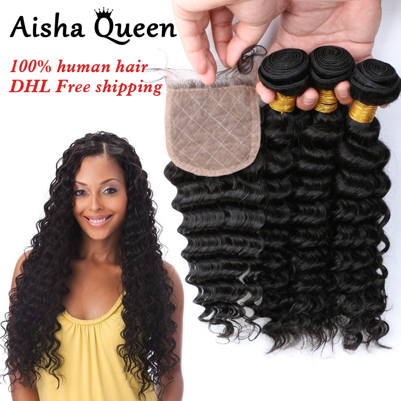 Aisha Queen Deep Wave Brazilian Human Hair 3 Bundles with 1 Silk Closure 4x4 Natural Black Remy Hair