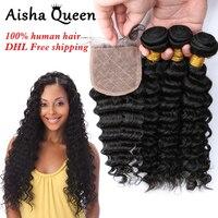 Aisha Queen Deep Wave Brazilian Human Hair 3 Bundles with 1 Silk Closure 4x4 Natural Black Remy Hair