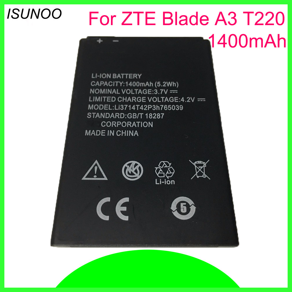 ISUNOO 3.7V 1400mAh LI3714T42P3H765039 <font><b>battery</b></font> for ZTE Blade A3 T220 AF3 T221 <font><b>A5</b></font> AF5 Phone <font><b>Battery</b></font> image