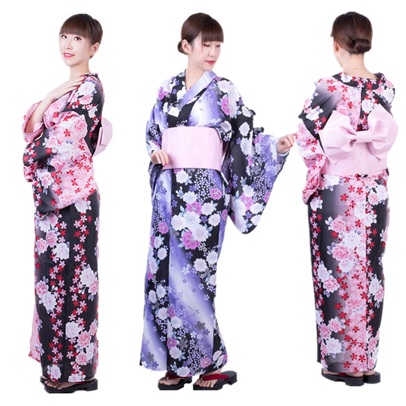 Traditional Japanese Yukata Kimono Dress For Women Haori Floral Cherry Cosplay Costumes Asian Long Robes Pajamas Clothing