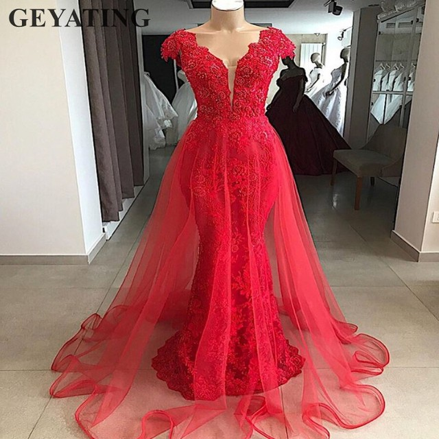 Vintage Lace Red Mermaid Overskirt Evening Dress Dubai 2019 Elegant V-neck Arabic  Prom Dresses Long Formal Party Gowns Beaded 521cb5f8bfb3