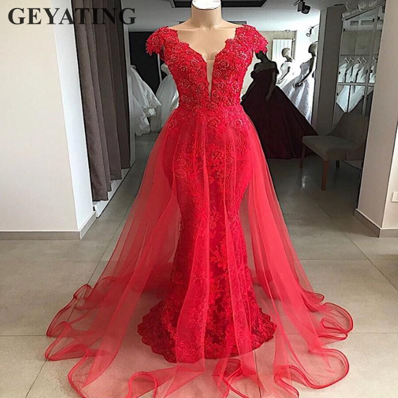 Vintage Lace Red Mermaid Overskirt   Evening     Dress   Dubai 2019 Elegant V-neck Arabic Prom   Dresses   Long Formal Party Gowns Beaded