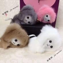 Free shipping fashion mink fur monster Plush toy Super cute Little monkey doll Bag Accessory charm