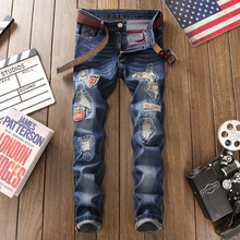 NEW 2019 brand men's hole embroidered jeans Slim men trousers Casual Thin distressed Denim robin Pants Classic Cowboys blue цены онлайн