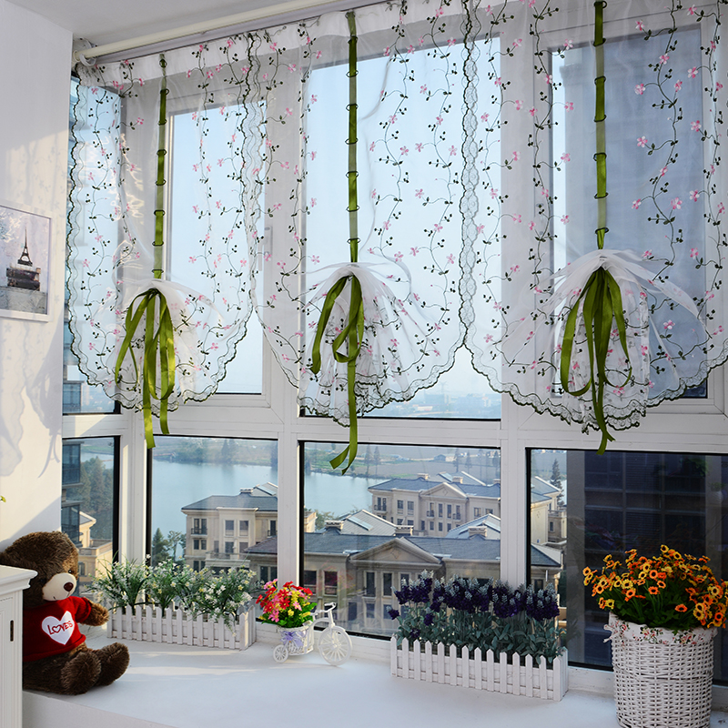 2015 New floral tulle for windows sheer curtains for living room kitchen  shade window embroidered roman curtain fabric drapes