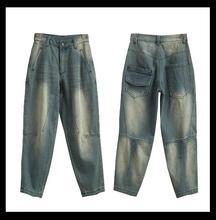 2017 Chunqi Siqin ветер отдых искусство Вентилятор большой код BF ветер был тонкий девять центов брюки джинсовые широкие брюки ноги