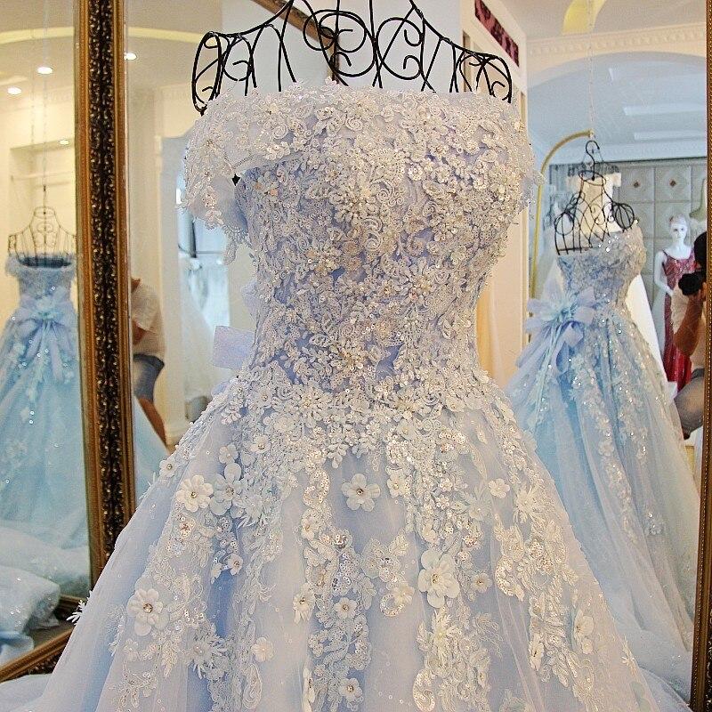 2019 printemps été romantique de luxe fleurs arc dentelle appliques paillettes tulle tiffany bleu robe de mariée xj98850 blanc long train - 4
