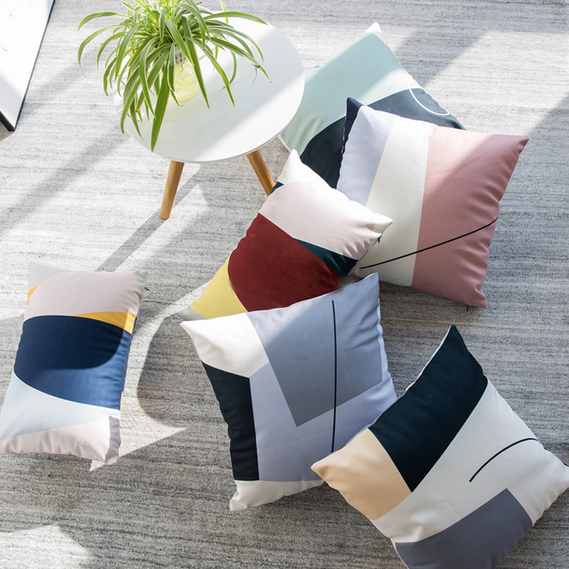 Home Decorative Throw Pillow Case Cushion Cover for Sofa Couch Modern Geometric Pattern Color Block, 18 x 18