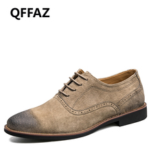 QFFAZ 2018 New Oxford Soft Leather Men Shoes Pointed Toe Lace Up Shoes Spring Breathable Men Shoes Fashion Dress Shoes