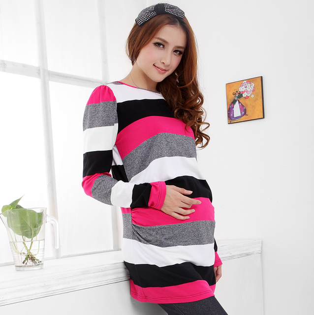 Striped T shirt Maternity clothing autumn blouse for women cotton womens shirts camiseta embarazo zwangerschap pregnancy clothes
