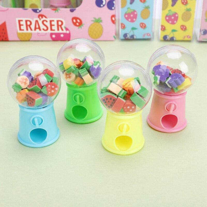 1Pcs New Selling Creative Fruit Style Twist Machine Rubber Cartoon Kawaii Eraser Children Gifts Students Color Random