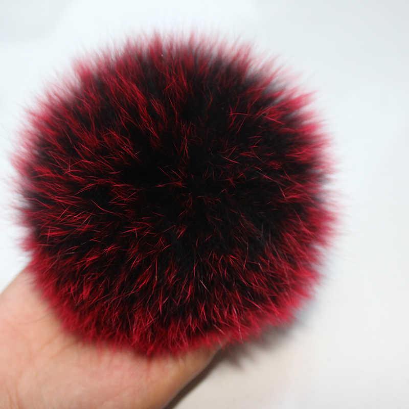 DANKEYISI 15 cm Real da Pele De Fox Fur Pompom Bolas Poms do Pom da Pele Para Chapéus Cap Pompom de Pele De Guaxinim Naturais Para luvas cachecol Keychain