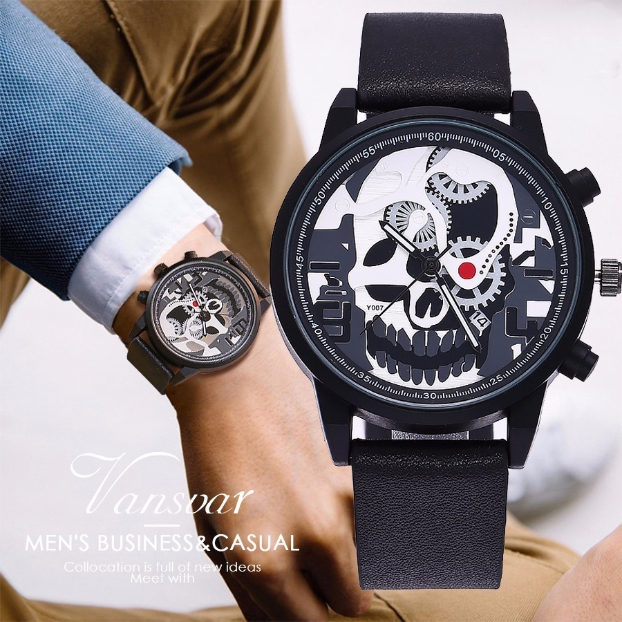 Vansvar Brand Unique Men Pirate Skeleton Skull Quartz Watch Luxury Waterproof Leather Men Sports Watch Relogio Masculino Hot hp hp 920 page 2