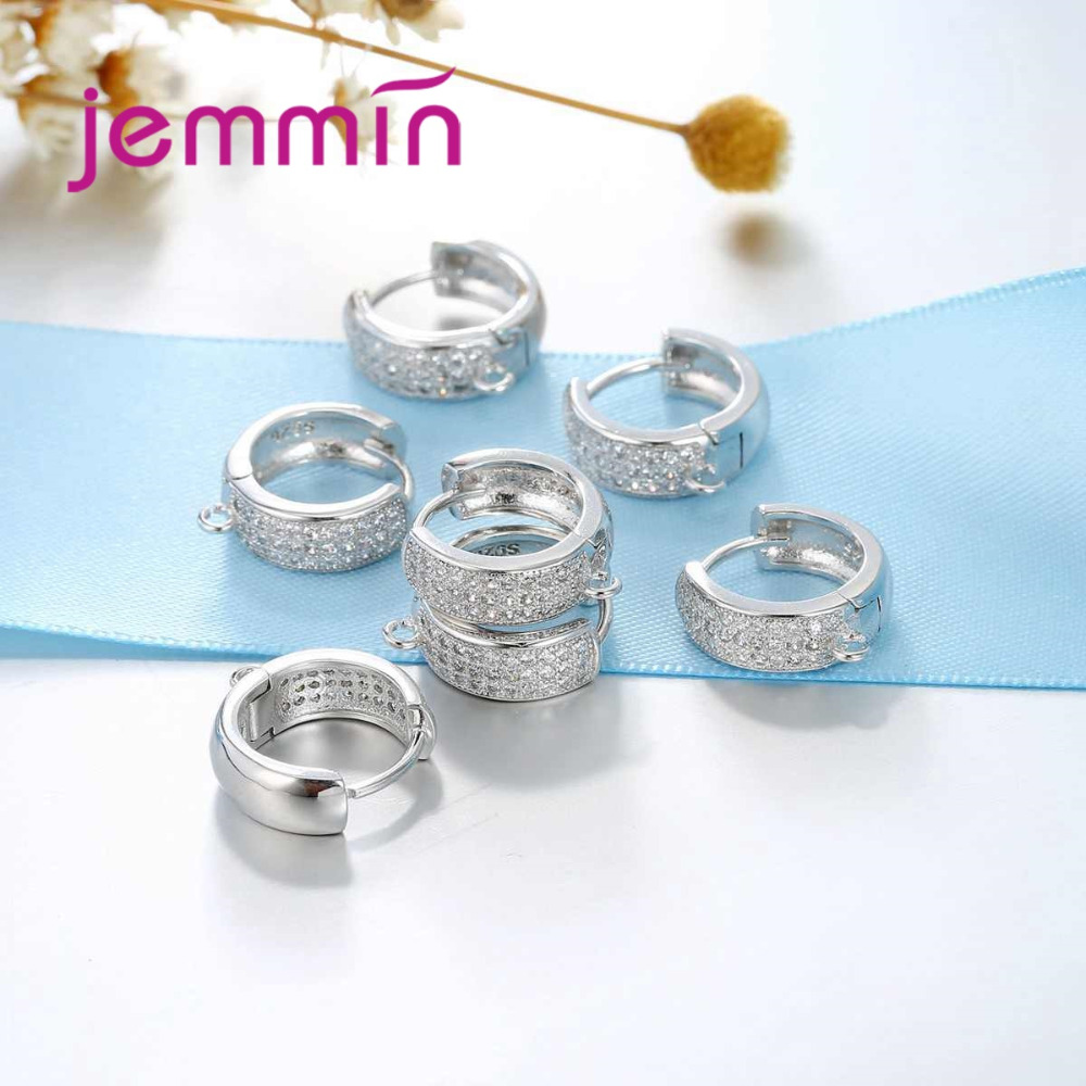 723d62279 Jemmin Gorgeous Full White Rhinestone Hoop Earrings Round Cut Fine 925 Sterling  Silver Jewelry Components for