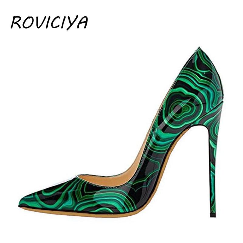 Black Green Printed Party Wedding Shoes Ladies Pumps Womens Heels Shoes Fashion 12 Cm Stilleto Pointed Toe Heels QP015 ROVICIYA