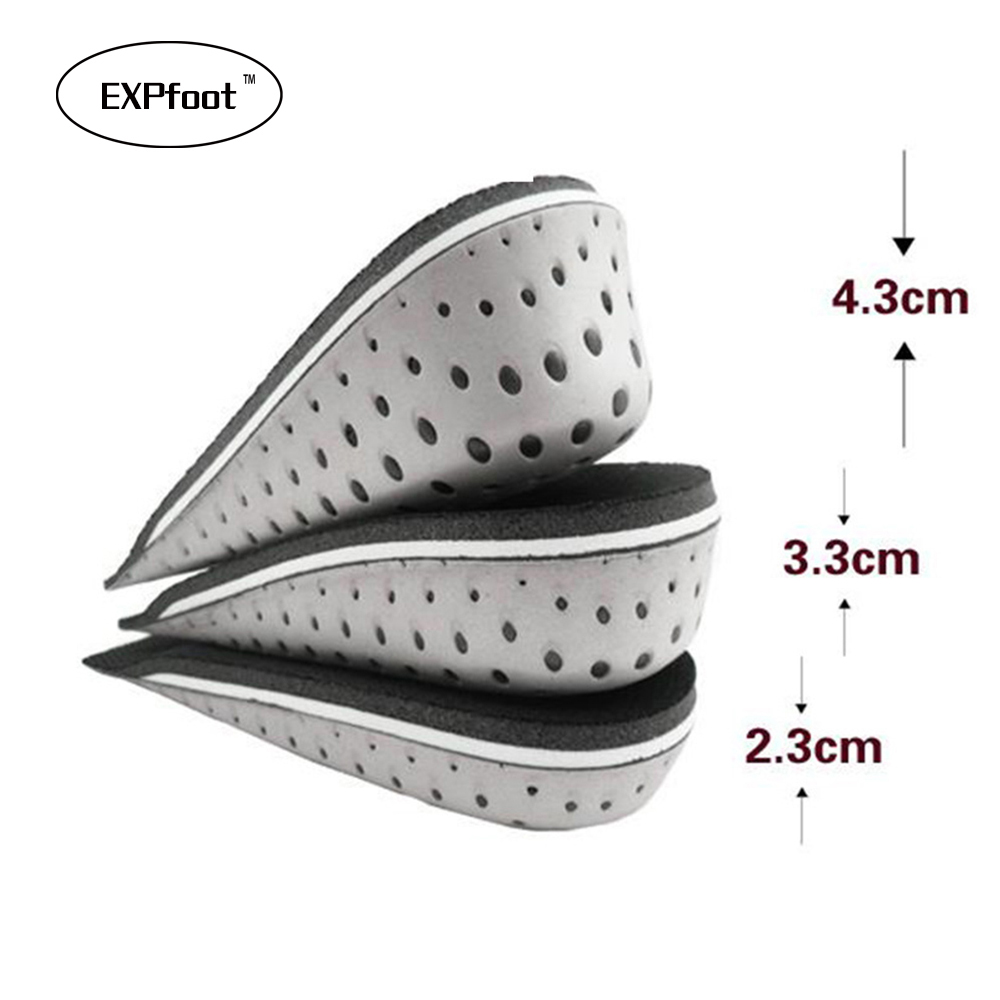 Unisex Increasing Orthotics Insole Lift Insert Pad Height Cushion Taller Male Female Footwear Shoes Height Cushion Taller 2-4cm