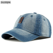 SILOQIN Washed Denim Hat Adjustable Size Mens Baseball Caps 2019 New Womens Ponytail Fashion Cowboy Hats Snapback Cap Unisex