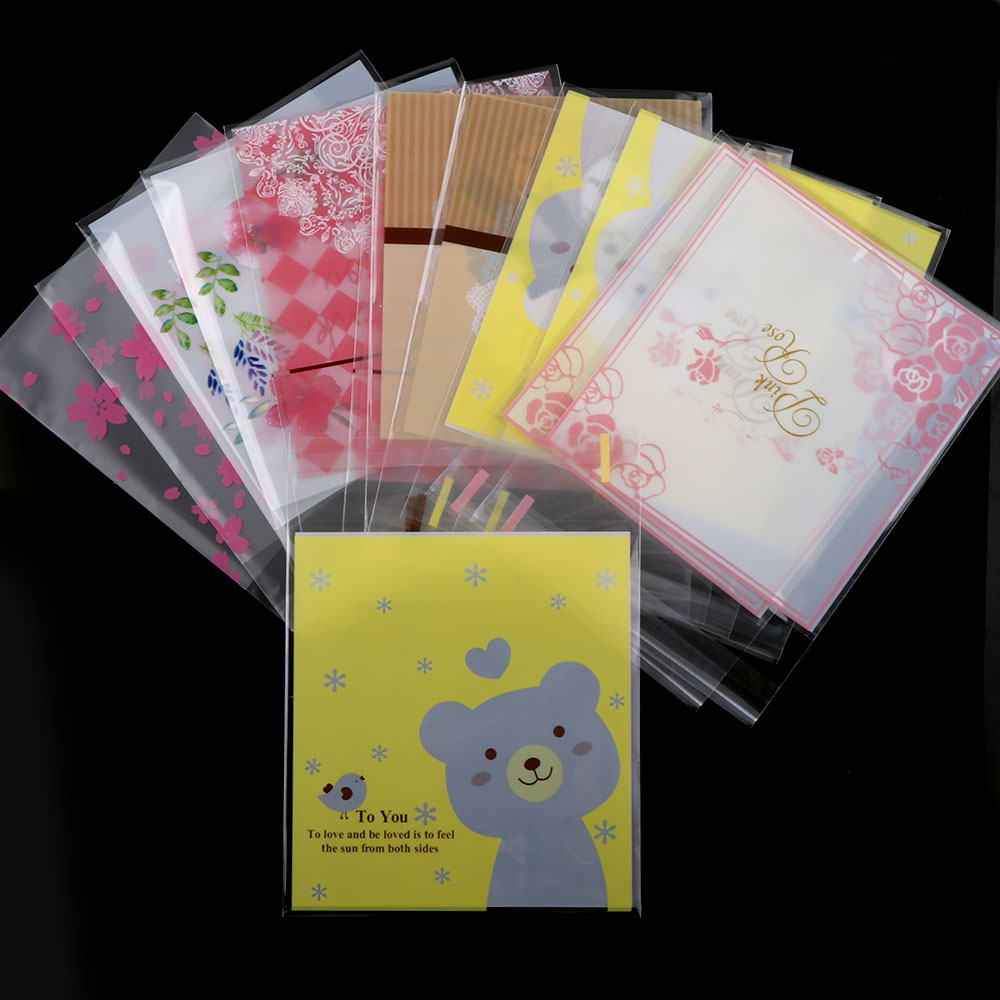50pc 10*14cm Opp Bow Candy Cake Lovely Self-Stick Transparent Packaging Cute Bracelets Gift Bags For Jewelry Box Package