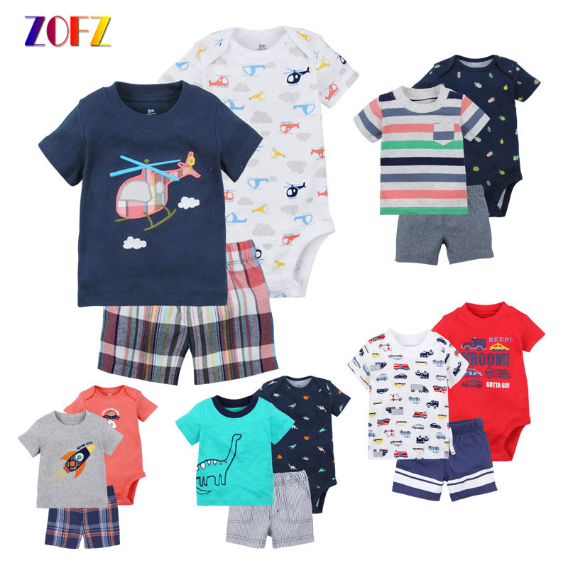 ZOFZ 3Pcs Baby Boy Clothes Short Sleeve T-shirt Cartoon Rompers and Shorts Suit for NewBorns Cotton Boys Summer Clothing Set