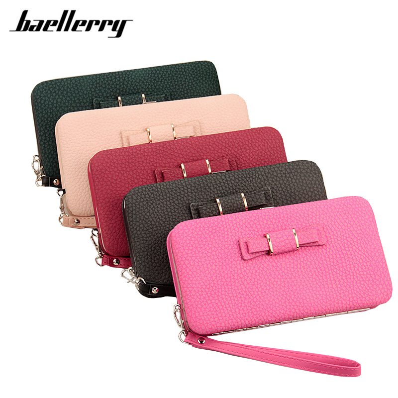 Baellerry Lady Wallet Female Bow Wristlet Purse Case Card Holder Cellphone Coin Pocket Women Clutch Handy Bag Leather Wallets yogobor brand purse wallet with bow female famous brand card holders cellphone pocket gifts for women money bag clutch