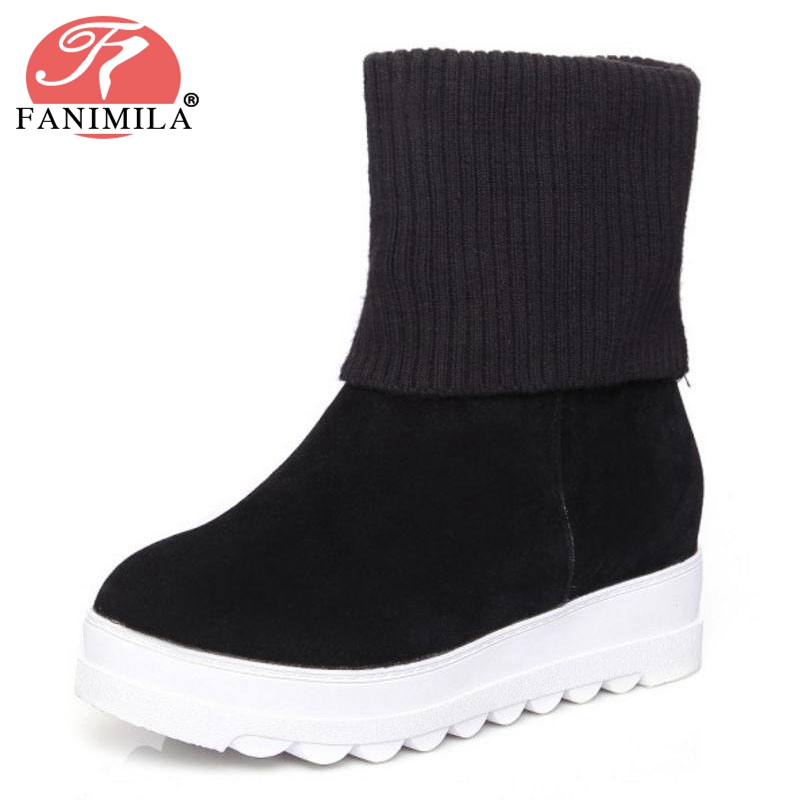 FANIMILA Size 34-43 Women Half Short Wedges Boots Warm Shoes Winter Boots Inside Heel Mid Calf Boot Short Botas Women Footwear women high heel half short boots thickened fur warm winter plush mid calf snow boot woman botas footwear shoes p21994 size 34 39