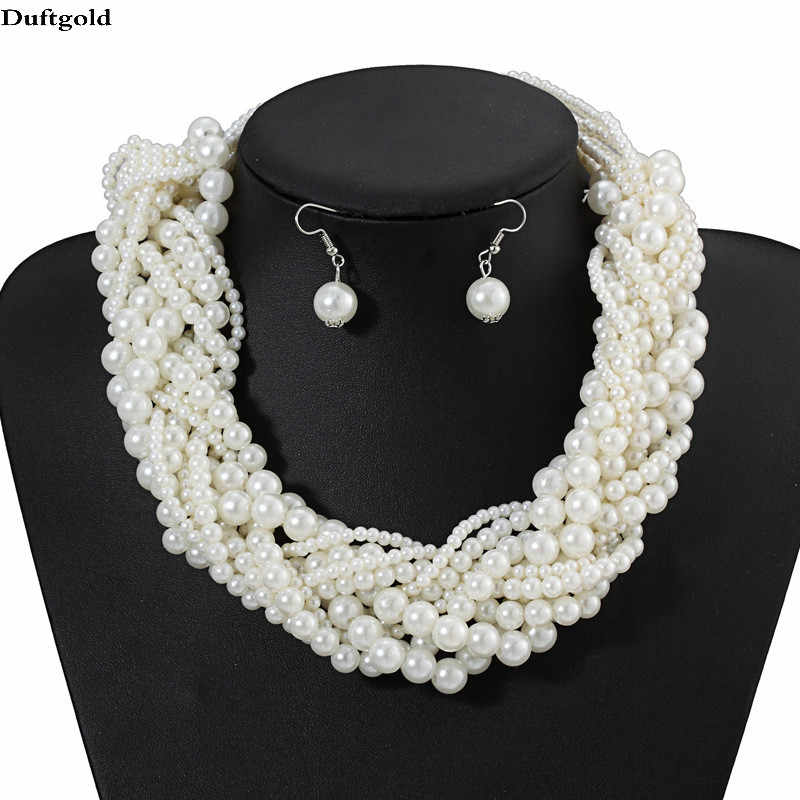 Classic Handmade Simulated Pearl Choker Statement Necklace Earring Jewelry Sets Women Party Luxury Wedding Jewelry Set Duftgold