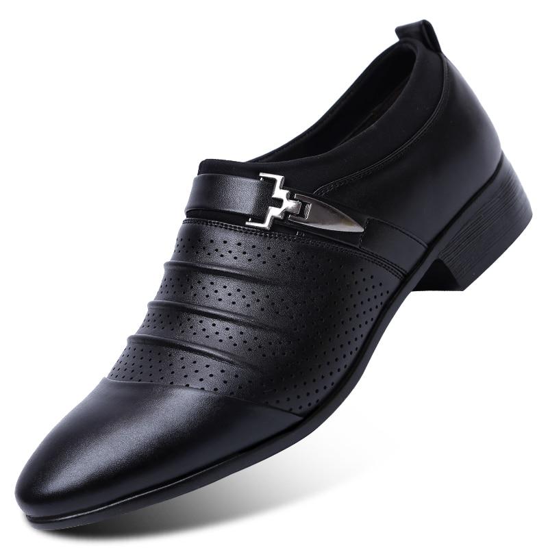 7401ba95fd Ventilação Masculino Apontou Sapatos de Couro Homem Forma de Casamento Homens  Sapatos Maré Britânico Sapatos Respirável Esportes Sapatos De Dança de Salão