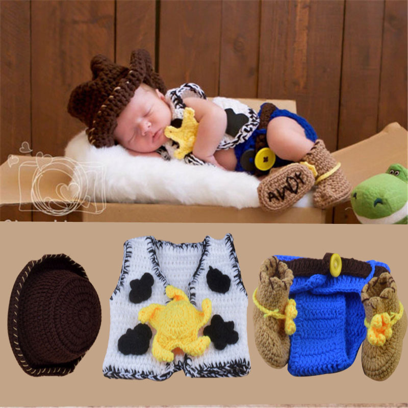 New Arrived Baby Photography Props Cowboy Crochet Knitted Newborn Outfit Hat cloths Shoes Costume