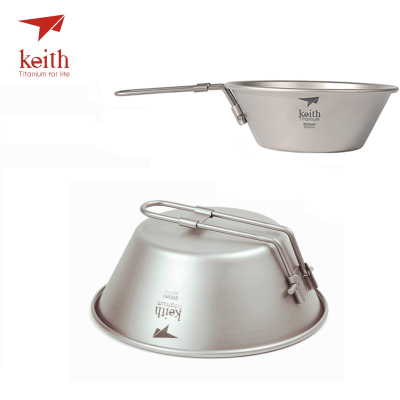 Keith Titanium Bowl Camping Cookware Picnic Outdoor Cooking Tableware Cutlery Travel Hiking Utensils Bowls With Folding Handle