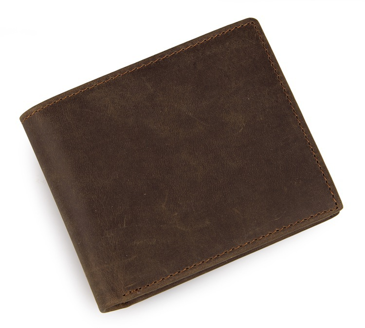 Vintage Casual Dark Brown Men wallets Crazy Horse Genuine Leather Cowhide Men Short Bifold Card Holder