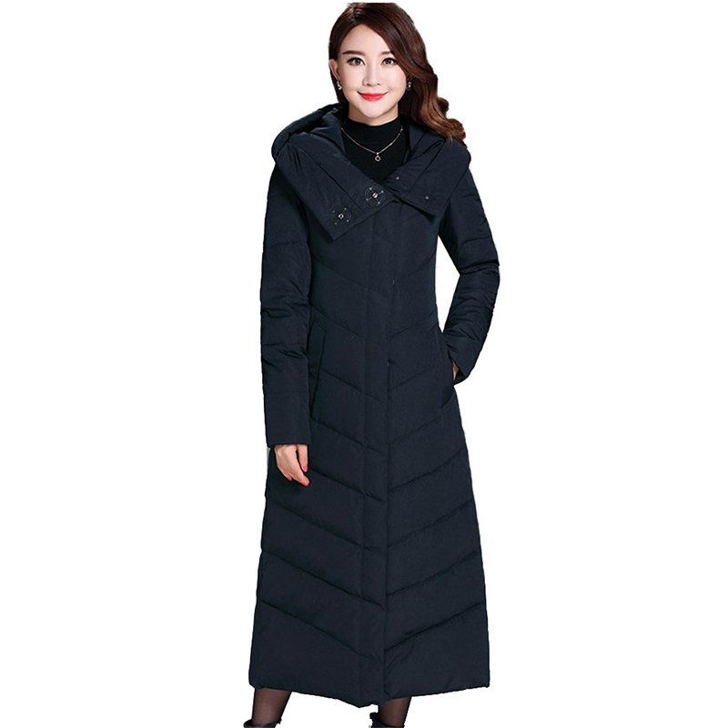 2019 Winter   Down   Jacket Women White duck   down     Coat   Thick Warm Hooded Tops Plus size Female Slim Lengthen   Down     Coats   IOQRCJV N335