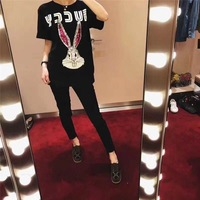 Women Summer Cotton T Shirt Rabbit Starling Heavy Industry Sequin Embroidered Letter Print Short Sleeve Girls Loose Tee Tops