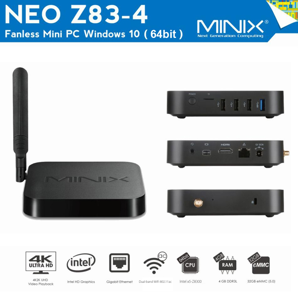 MINIX NEO Z83 - 4 Fanless Mini PC Intel x5-Z8300 TV Box 64bit Windows 10 Dual Band WiFi 2.4GHz + 5GHz Bluetooth 4.2 Media Player