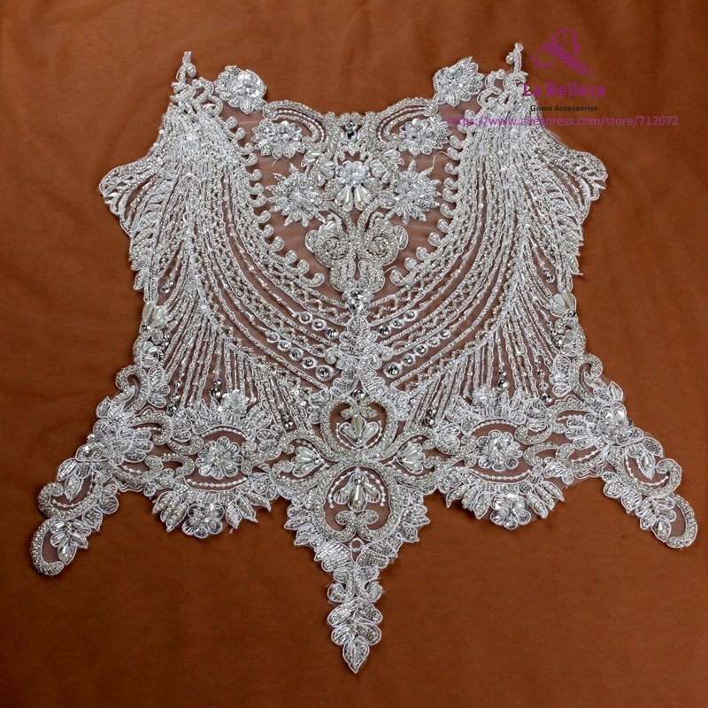 La Belleza beautiful large piece handmade pearls crystal Rhinestone patch wedding dress applique accessories or without beading