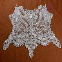2c2ce54a2 La Belleza hermosa pieza grande hecho a mano de perlas de cristal de  diamantes de imitación parche boda Vestido apliques accesor.