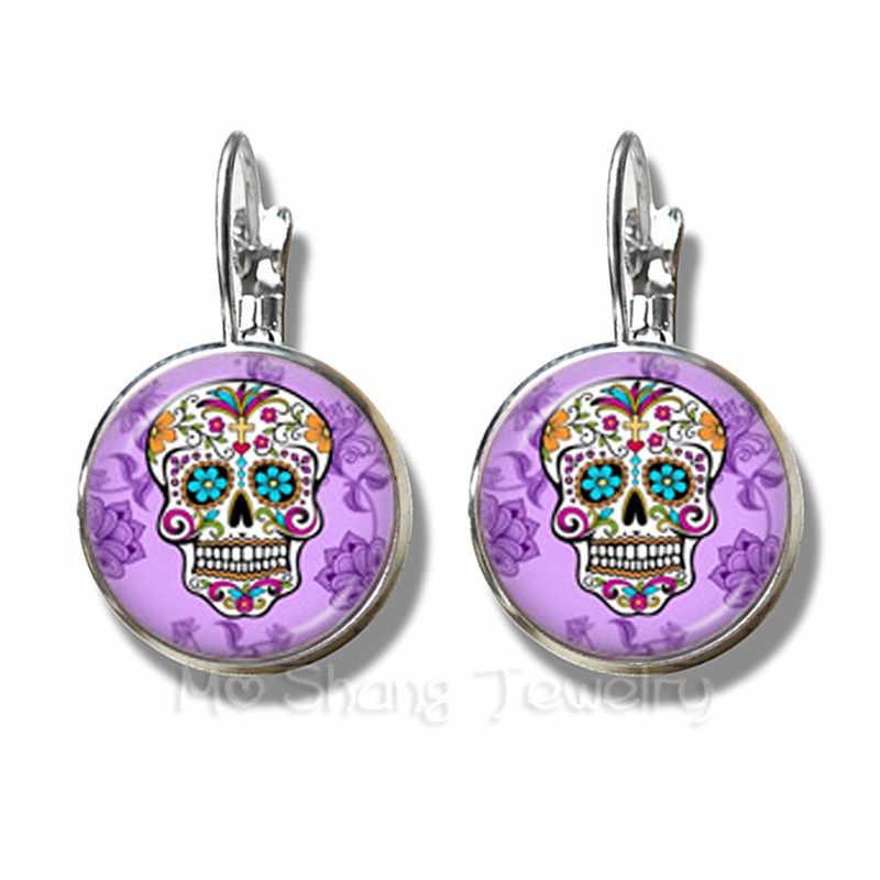 المكسيك Candycolor الهيكل العظمي أقراط زجاج قبة بوهيميا الفضة مطلي الفرنسية هوك أقراط العصرية مجوهرات يوم الميت هدايا