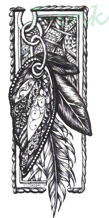 ٩۶waterproof Temporary Tattoos Black Feather Tatoo Mehndi Style