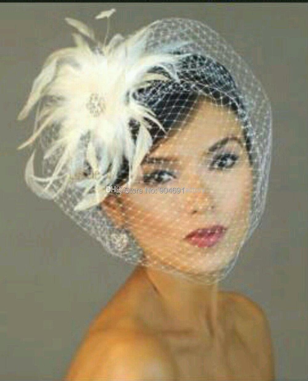 bridal birdcage veils wedding blusher short bridal hair pieces french net wedding bridal accessories feather flower wedding veil in bridal veils from