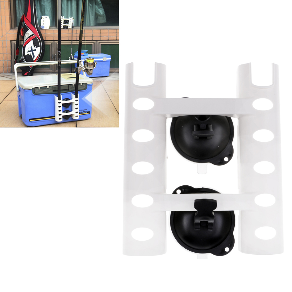 ABS Plastic Suction Cup Fishing Rod Rack 2 Tube Rod Holder for Car/Truck/SUV/Fishing Box