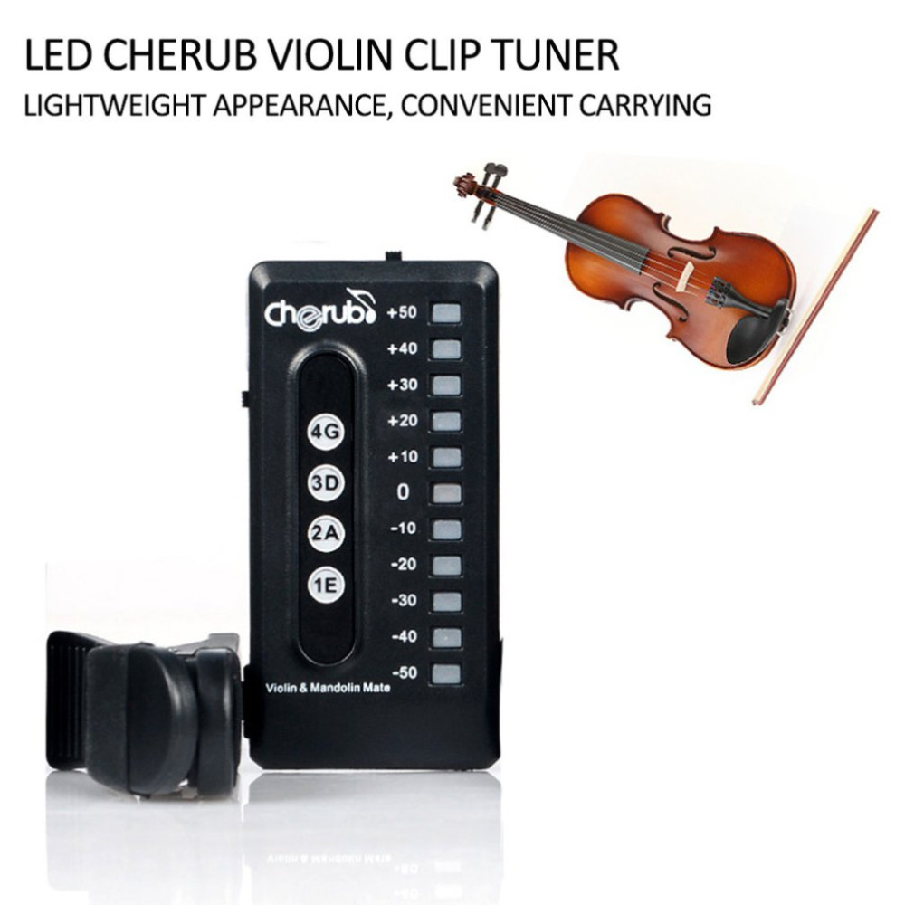 Querubín Guitarra/Violín Erhu/Ukulele Sintonizador de Clip de 180 Grados de Rota