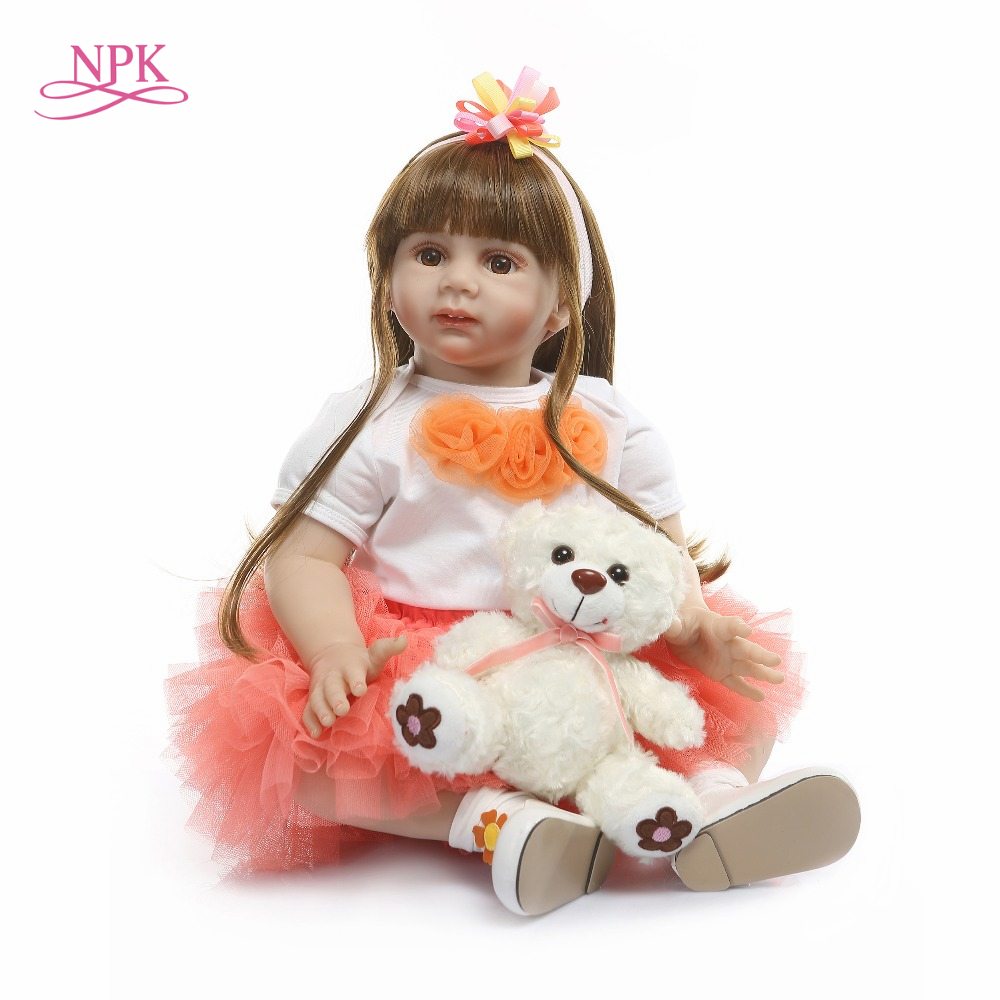 NPK 60cm Silicone Reborn Baby Doll Toys 24 inch Vinyl Princess Toddler Babies Dolls Girls Birthday