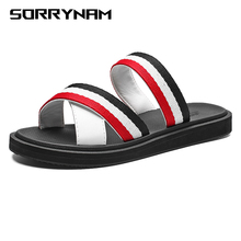 Leisure Sandals Men Flat Non-Slip Stripe Casual Beach Shoes Indoor Outdoor Slippers Basic Slides Home Sandals Summer цена