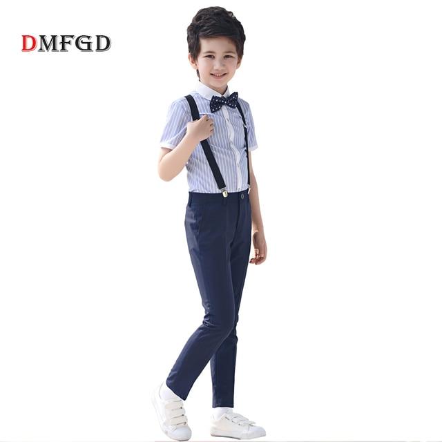 4 pcs/ensemble de mode Enfants de vêtements ensembles rayé chemises formelles shorts noir costumes jarretelles pantalon étudiant vêtements pour garçons