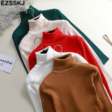 casual Autumn Winter Basic Sweater pullovers Women turtleneck Solid Knit Slim Pullover female Long Sleeve bigsize warm Sweater(China)